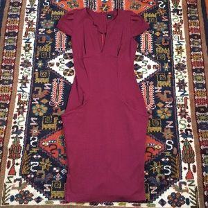 Midi Dress with Deep V